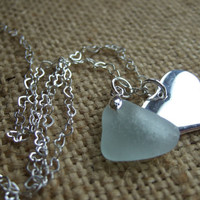 Scottish sea glass sea foam heart and silver heart charm on 18'' sterling silver heart necklace, love jewellery, sea glass heart, gift her
