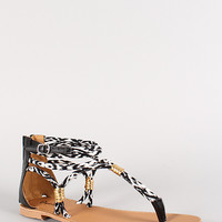 Qupid Two Tone Strappy Gladiator Flat Sandal
