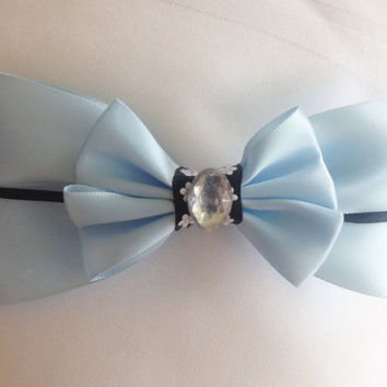 Cinderella Classic Light Blue and Black Bow, A Dream Is A Wish Your Heart Makes by Design Bowtique
