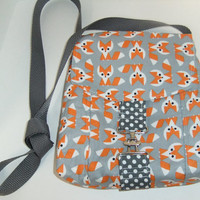 Small Messenger Bag - made by me with fox fabric - crossover purse