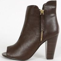 Breckelle's Sheela-11 Peep Toe Zipper Booties | MakeMeChic.com