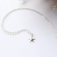 Tiny Starfish Necklace, Sterling Silver Starfish Necklace, Silver Starfish necklace, Starfish necklace, Beach Wedding, Beach jewelry