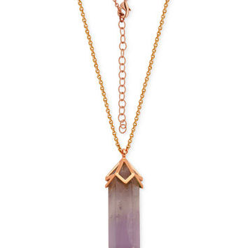 Cape Amethyst Long Pendant Necklace (30 ct. t.w.) in Silver-Plate Rose Gold Flash | macys.com