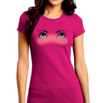 Blushing Anime Eyes Juniors Petite Crew Dark T-Shirt