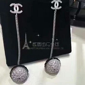 LMF3DS The new arrive Chanel Rhinestone Stylish Ladies Logo CC crystal brick Ball Earrings drop Jewelry