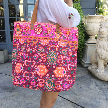 Summer Large Tote Canvas bag Summer Bag Colorful Neon Printed Canvas Tribal Hobo Hippie bag Weekender bag Beach bag Boho Bag Beach Purse
