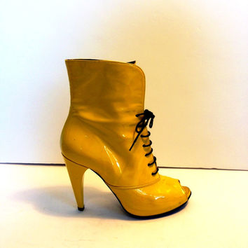 Yellow Patent Leather Open Toe Ankle Boots Made In Italy (Small/Indie Brands)