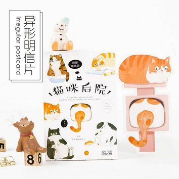 30 pcs/lot novelty yard Cat postcard Cute animal heteromorphism greeting card christmas card birthday message card gift cards
