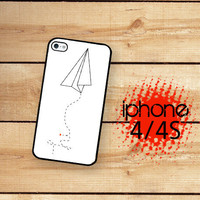 iPhone 4S Case Paper Airplane Hello Hi  /Hard Case For iPhone 4 and iPhone 4S Rubber Trim