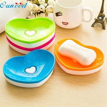Home Wider Ouneed Hot Toilet Soap Silicone Holder Plate Bathroom Heart Shape Soapbox Soap Dish sep929 Drop Shipping