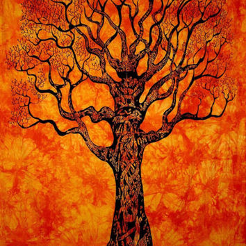Orange Tree of Life Tapestry : Bohemian, Wall Decor, Dorm Decoration, Tie Dye, Hippie, Apartment, Indian