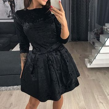 New Arrival 2018 Autumn Fashion Elegant Womens Velvet Fashion Sexy Dress Ladies Party Mini Dress High Quality Dropshipping USPS