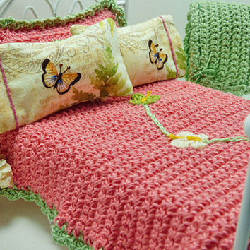 Dollhouse Bedding Deep Pink Garden Flower Butterfly Crocheted Bedspread Twelfth Scale Blanket Matching Designer Pillow Bed Linen Furnishings