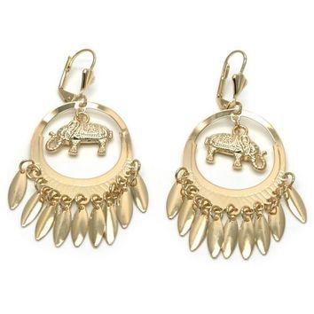 Gold Layered 02.32.0540.2 Chandelier Earring, Elephant Design, Polished Finish, Golden Tone