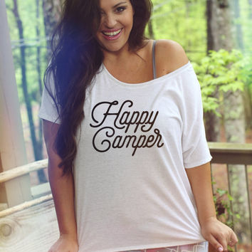 Happy Camper Graphic Tee, Sizes S-3X, Plus Sizes available, workout tee, happy camper tee