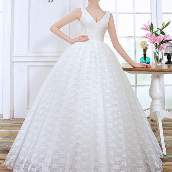 Poems Songs 2017 New Style high quality soft lace flowers ball gown wedding dress vestido noiva vintage robe de mariage