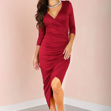 Cocktail Hour Burgundy Dress