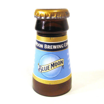 Shot glass made from a recycled Blue Moon beer bottle