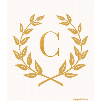 Laurel Wreath Monogram Art Print - Bar Cart - Inspirational - Monogram - Gold Laurel Wreath - Golden - Nursery