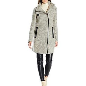 Calvin Klein Women's Wool Coat with Pu Trim and Stand Collar Asymmetric Zipper, Tin Black