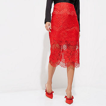 Red lace scallop hem pencil skirt - Midi Skirts - Skirts - women