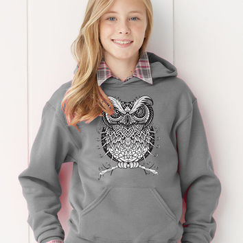Custom Owl Line Art Grunge PERSONALIZED Girls Hooded Hoodie Sweatshirt  Name Initials - Any Color!