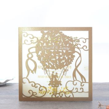 Romantic Balloon and happy couple wedding card