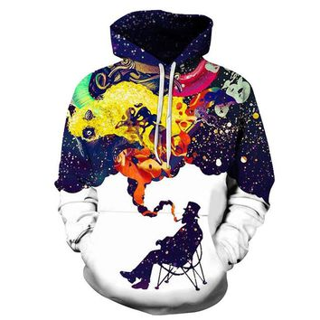 Colorful Smoke Printed Hoodies