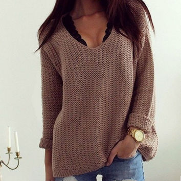 Deep V-neck Hollow Out Loose Pullover Sweater