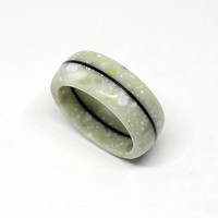 Light green corian ring with black ebony wood line / Very durable / Hypoallergenic ring / Waterproof / Size 4,5 US - 9,5 US
