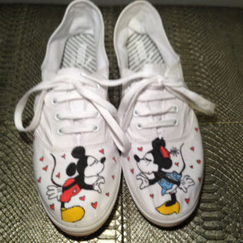 Custom Hand Painted Shoes- Vintage Mickey and Minnie Theme