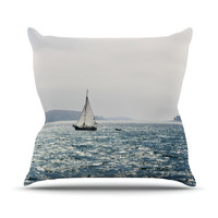 "Jillian Audrey ""Sail the Sparking Seas"" Blue Gray Outdoor Throw Pillow"