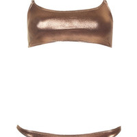 Metallic Cropped Bikini Set - Bronze