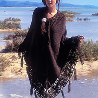 Poncho Knitted poncho Brown poncho Fringe poncho crochet poncho handknit poncho boho poncho summer Women poncho CHOOSE YOUR COLOR Drops
