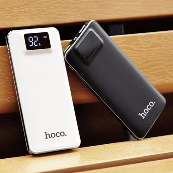 Original HOCO Large Capacity 10000mAh Practical Ultra-thin Power Bank Mobile Powerbank Universal Charger With LED Flashlight