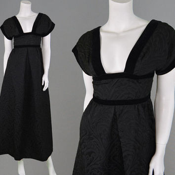 Vintage 50s 60s Evening Gown Black Brocade Dress Open Back Plunging Neckline XS Glam Dress Nettie Vogues Hollywood Glamour Sexy Jacquard