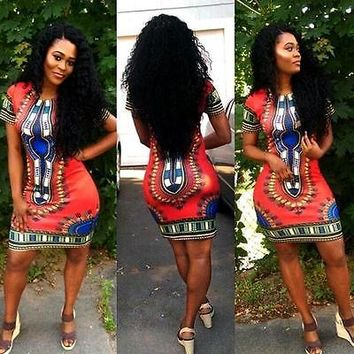 Women Boho Dashiki Dresses Shirt African Gsypy Clubwear Short Mini Dress