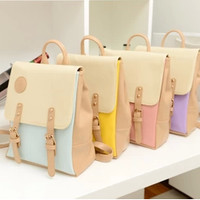 Sweet lolita multi-color faux leather backpack