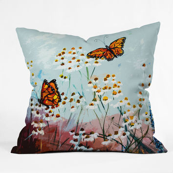Ginette Fine Art Butterflies In Chamomile 1 Outdoor Throw Pillow