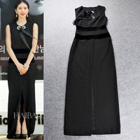 Black Bow Sleeveless Front Slit Spliced Maxi Dress