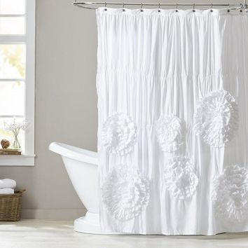 Beautiful Blossoms White/Ivory Shower Curtain