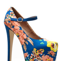 Glaze Blue Floral Almond Toe Mary Jane Platform Pumps