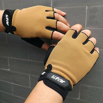 Men Antiskid Cycling Bike Gym Fitness Sports Half Finger Gloves Hand Protector Weight Lifting Sports Cycling Gloves