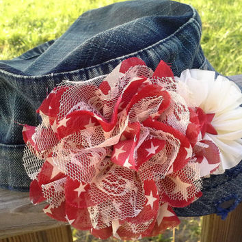 Red and White Patriotic Cadet Cap  July 4th Chiffon and Lace Vintage Look Flowers Shabby Chic Star Fits all Teens & Women One of a Kind RTS