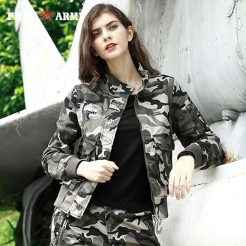 Fashion Women's Bomber Jacket Winter Army Green Pocket Military Jacket Three Colors Female Jackets