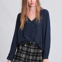 If You Please Blouse In Navy