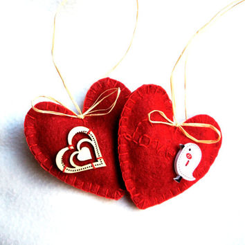 Red felt heart ornament  set of 2, Valentine's day, Mother's day,  Birthday gift, Wedding  decor, home decor, Chrismas ornament