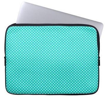 Turquoise Polka Dots Laptop Computer Sleeves