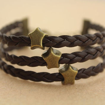 star beads bracelet--my love superstar bracelet,antique bronze charm bracelet,brown leather bracelet,friendship gift,MORE COLRS