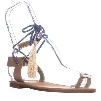Circus by Sam Edelman Binx2 Lace Up Flat Sandals, Golden Caramel, 5 US / 35 EU